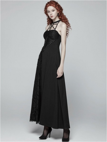 Langes Kleid mit Schnürung und Halsband