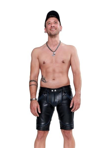 Leder Shorts FXXXer schwarz/blau