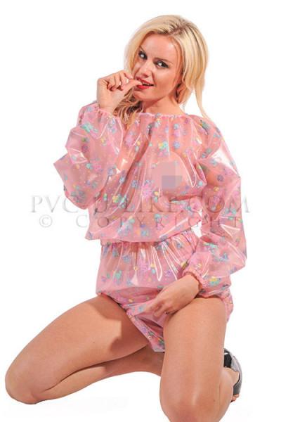 "PVC ""Adult Baby"" Playsuit mit Druckknöpfen rosa halbtransparent mit Tiermotiven"