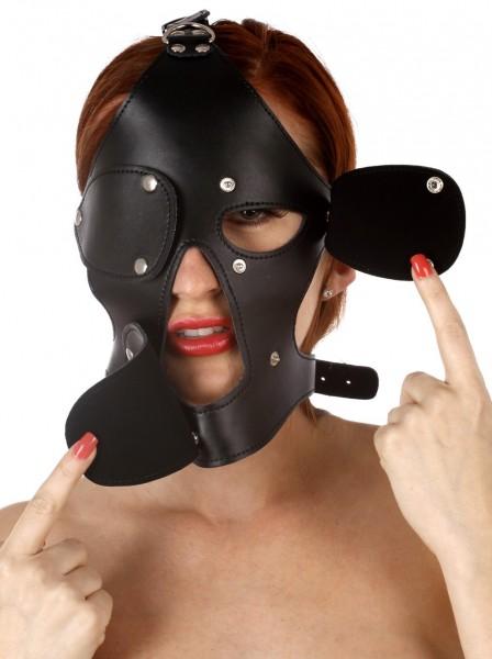 Leder-Kopf Harness mit abnehmbaren Mund- und Augenklappen