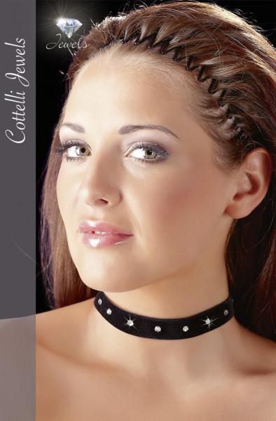 Samt Halsband mit kleinem Klettverschluss