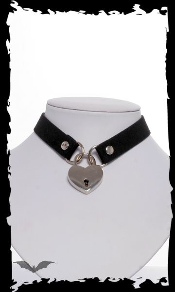 Halsband mit Herzschloss und Schlüssel