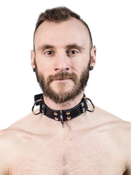 Sklaven-Halsband mit 4 D-Ringen schwarz