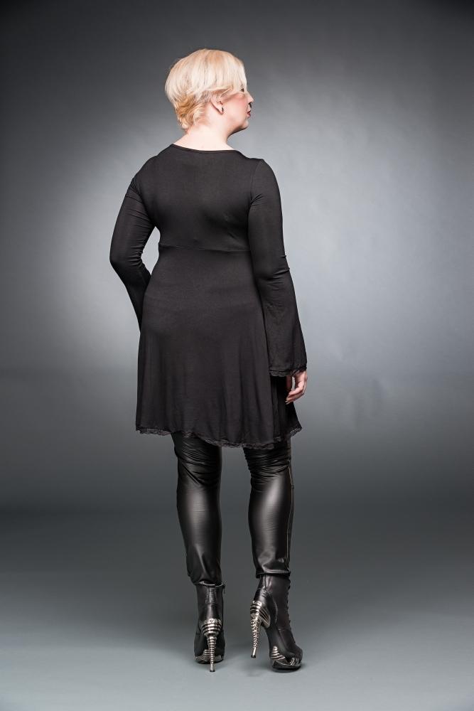 Schwarzes Kleid mit VAusschnitt und Schnürung  Kleider  kurz  Gothickleidung  Damen