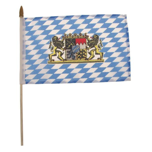 Fähnchen mit Plastikstiel Bayern mit Wappen/Löwen
