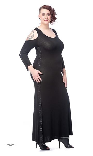 Schulterfreies langes Kleid mit Nietenband verziert