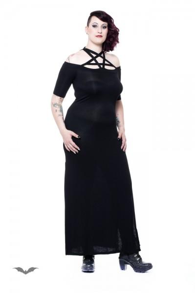 Langes Kleid mit Pentagramm-Trägern