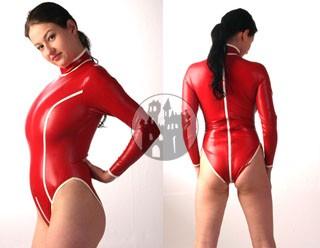 Latex Body - Long Color - langärmelig, durchgehender RV, Stehkragen