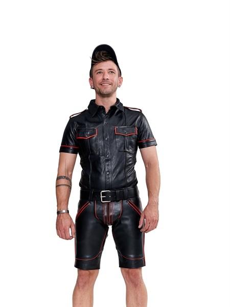 Leder Shirt 'Police' schwarz/rot