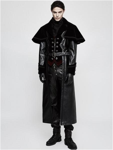 Langer Mantel aus Kunstleder und Samtstoff