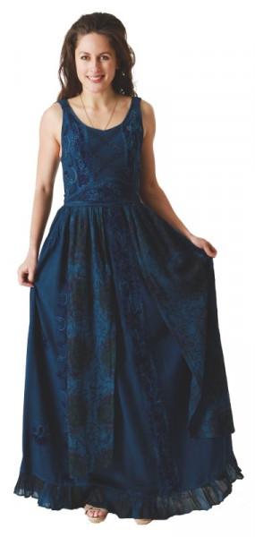 Langes Träger-Kleid mit Stickerreien