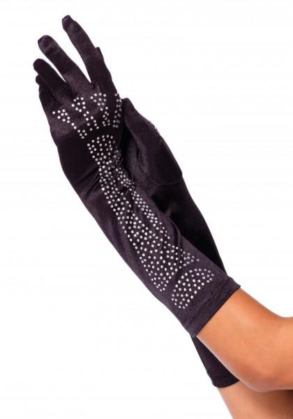 Ellenbogenlange Handschuhe m. Strass Knochen