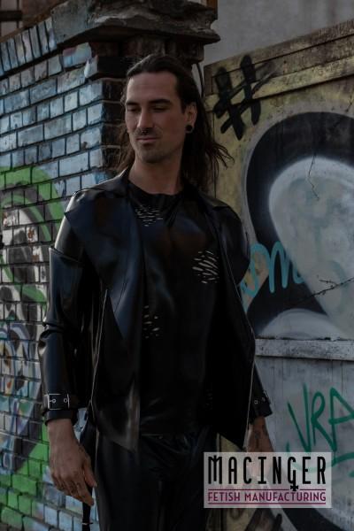 Skinny Latex-Jeans 'Derek' im Used-Look - MACINGER