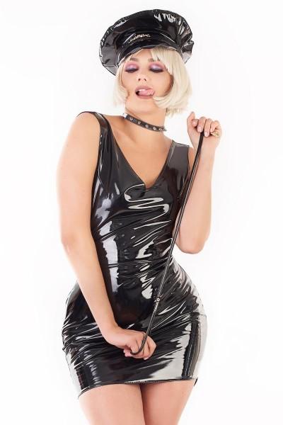 schwarzes, glänzendes Lack-Minikleid mit tiefem Rückenausschnitt
