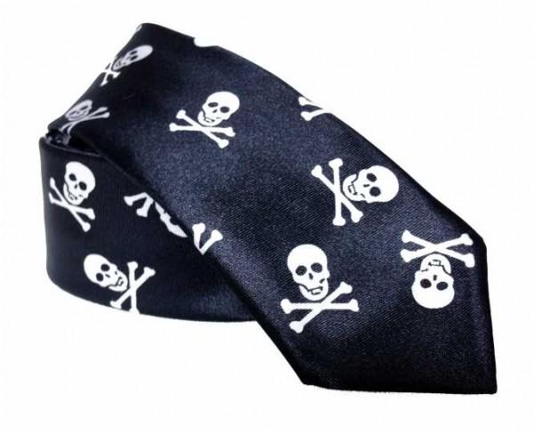 Krawatte mit kleinen Totenköpfen
