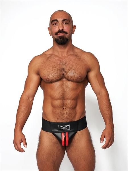 Leder Jockstrap 'Premium' schwarz/rot