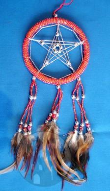 Dreamcatcher Pentagramm rot