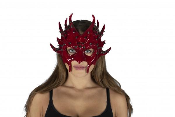 Maske mit Nieten - rot