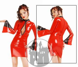 Latex Kleid - Trompetenärmel