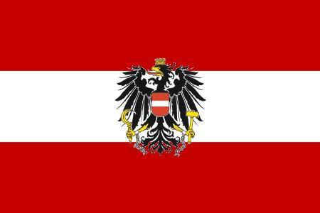 Fähnchen mit Holzstab 'Österreich mit Wappen'