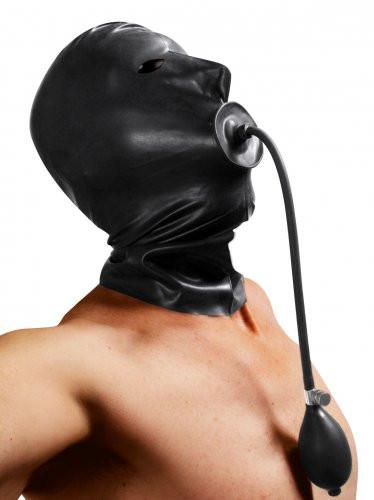 Latex Maske mit eingebautem aufblasbaren Knebel