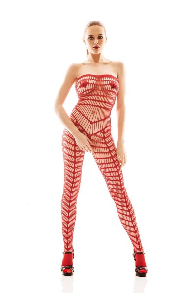 roter Bodystocking aus Netzmaterial mit verstärkten Füßen