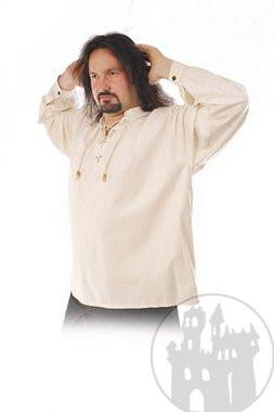 Mittelalterhemd ohne Kragen mit V-Schn