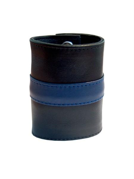 Leder Handgelenk-Geldbörse mit RV schwarz/blau