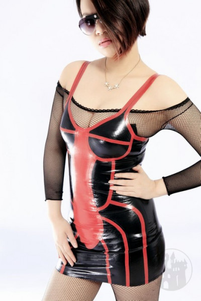 Latex Kleid mit Konstrastelementen