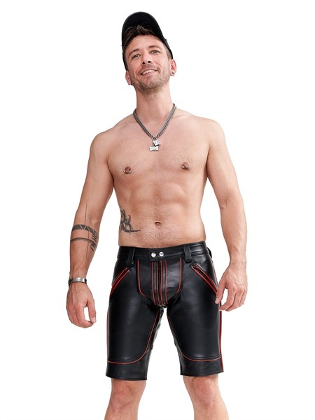Leder Shorts FXXXer schwarz/rot