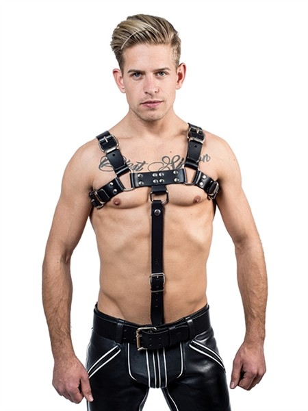 Leder Brust-Harness Extension schwarz