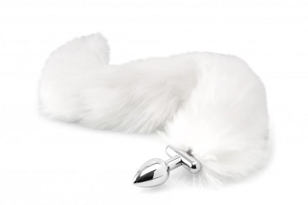 Analplug mit Schwanz biegsam - weiß