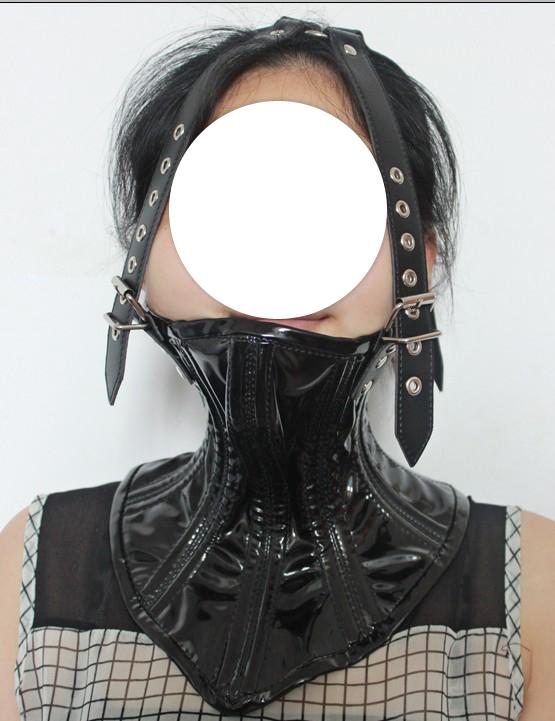 Lack Halskorsett mit Kopfriemen | Sonstige Halsbänder