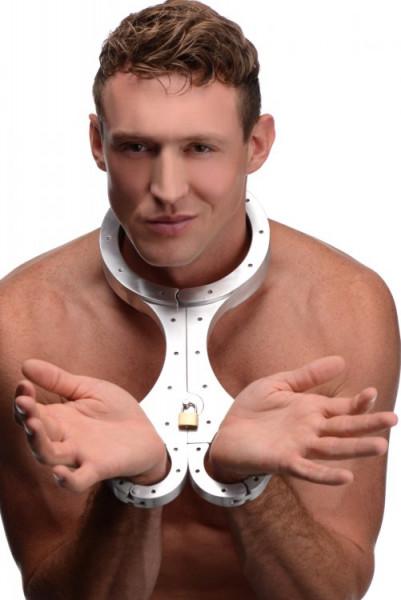 Metallhalsband mit Armfesseln - abschließbar modelle-sex