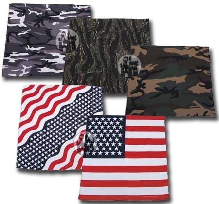Bandana - 55x55cm - Tarnfarben und USA-Fahne
