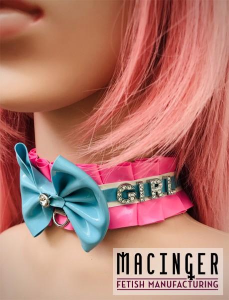 Rüschen Halsband mit individuellem Strass Schriftzug 'Stacy' - MACINGER -Seitenansicht