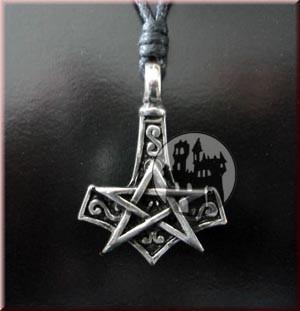 Anhänger Thor's Hammer mit Pentagramm