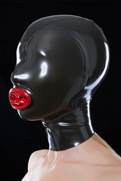 Latex-Maske mit Mundkondom vorne, seitlich